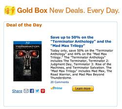 [미국] 매드 맥스 트릴로지 블루레이 / 터미네이터 앤솔로지 블루레이 할인 (Gold Box Deal)