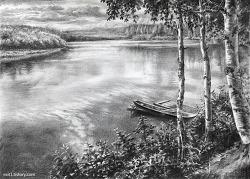 [풍경소묘 / 수강생작] 나룻배와 자작나무가 있는 강가 풍경