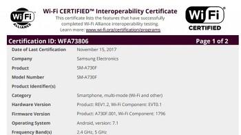 삼성 - 갤럭시 A5 2018 / 갤럭시 A7 2018, WiFi 인증 통과