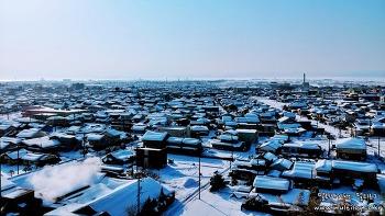 LG V30 라즈베리로즈 카메라에 담긴 눈덮힌 일본 돗토리