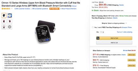 [Amazon.com] Omron 혈압계 BP786N ($54.99/$11.55)