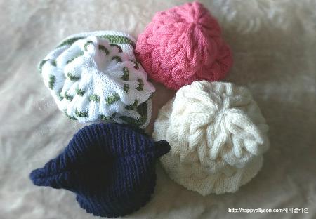 다양한 꽈배기 무늬 손뜨개 모자들, 가을, 겨울을 따시게~