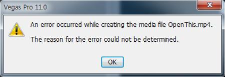 Vegas Pro Error