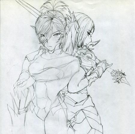 리니지2 카마엘+엘프 Sketch