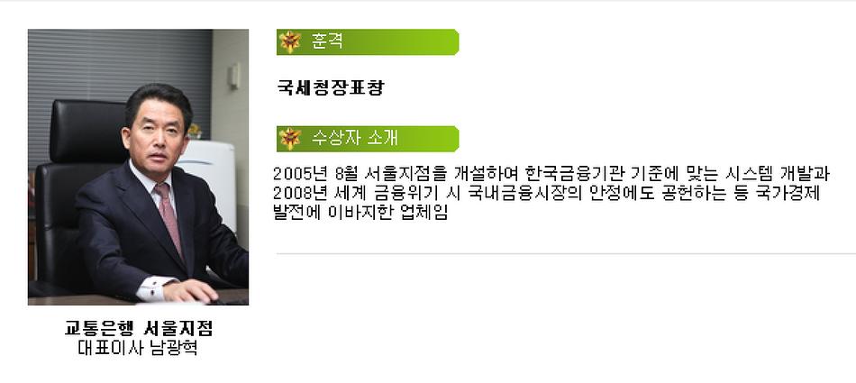 교통은행 서울지점 모법납세자상 수상