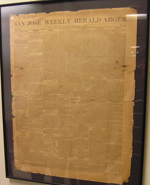 San Jose Weekly Herald-Argus 1878년 12월 6일자