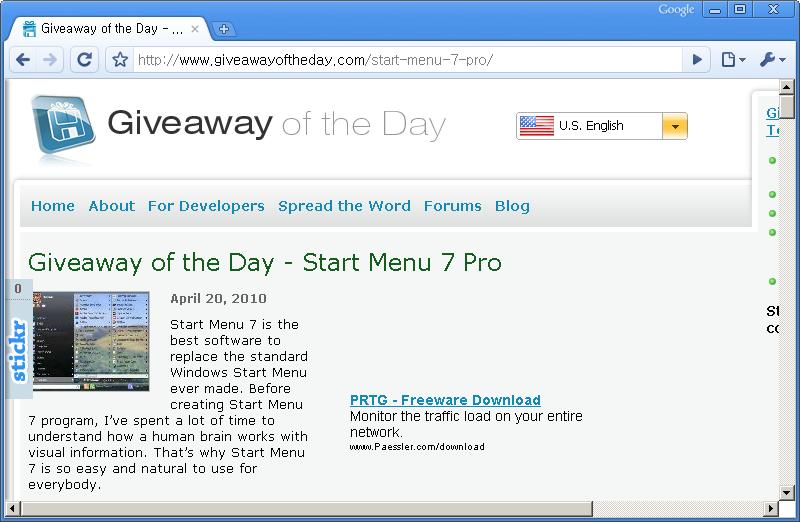 Giveaway of the Day 홈페이지 - 오늘은 Start Menu 7 Pro 프로그램이 공짜!