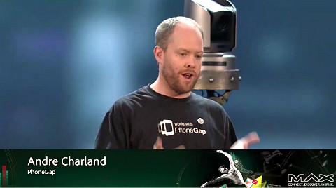 (그림 2 니토비 CEO 안드레 찰런드 – Adobe MAX 2011 Live)