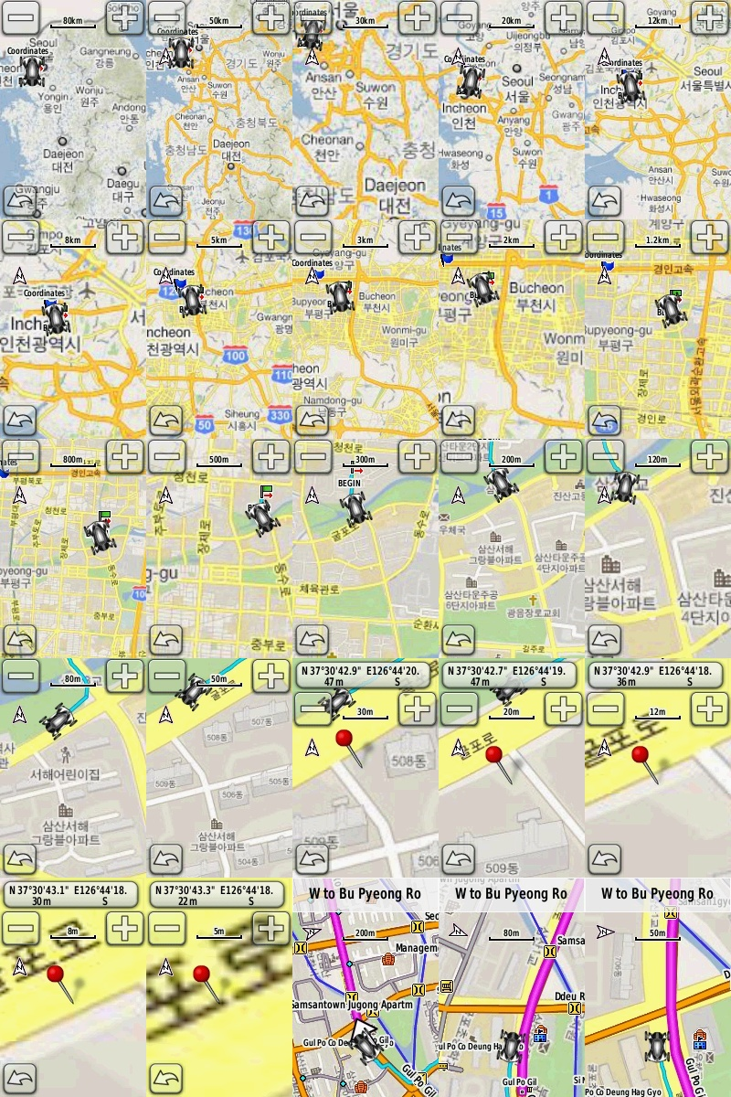 가민 엣지 800에 적용한 축적별 구글맵과 네비게이션 기능