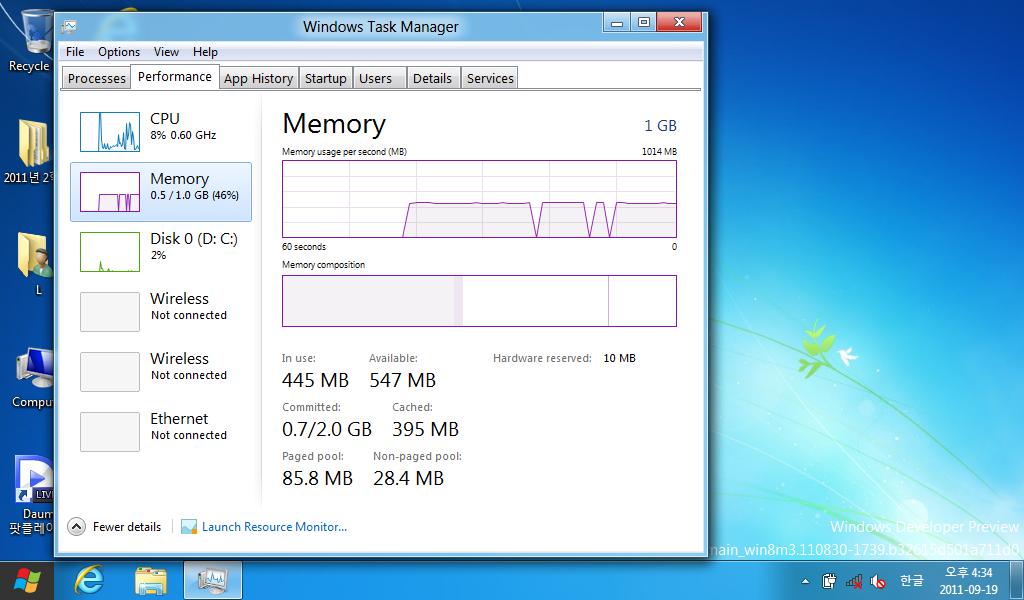윈도우 8의 작업 관리자이다. 윈도우 7에 비해 좀 더 예쁘고, 상세한 정보를 제공한다.