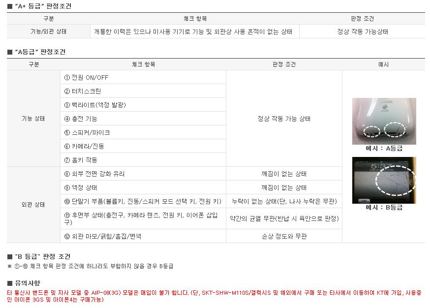 KT 아이폰 보상판매 등급 판정 기준