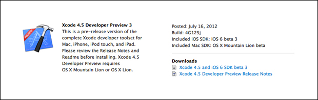 Xcode 4.5 DP3 다운로드