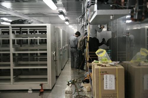 옥수수 종자 저장고 냉장설비 내부의 모습