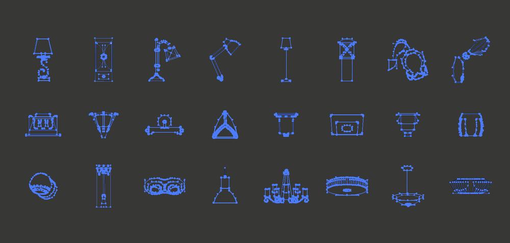 24 가지 무료 벡터 인테리어 조명 아이콘 - 24 Free Vector Interior Light Icons