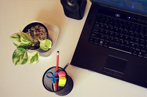 사무실 연필꽂이 연필 가위 형광펜 화분 식물 업무 노트북 스피커 회사 사무용품 식물 책상 - 무료이미지