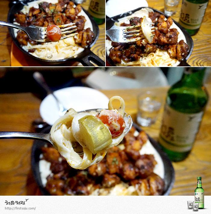 크림파스타,방울토마토,양송이버섯