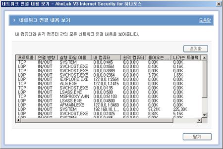 V3 플레티넘 해킹차단 네트워크 연결내용 보기