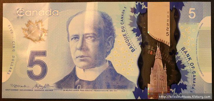 화폐로 알아보는 캐나다 역사 문화 5달러 지폐