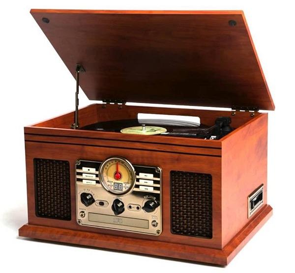 Victrola Nostalgic Classic Wood 6 In 1 Bluetooth Turntable Entertainment  Center, Mahogany