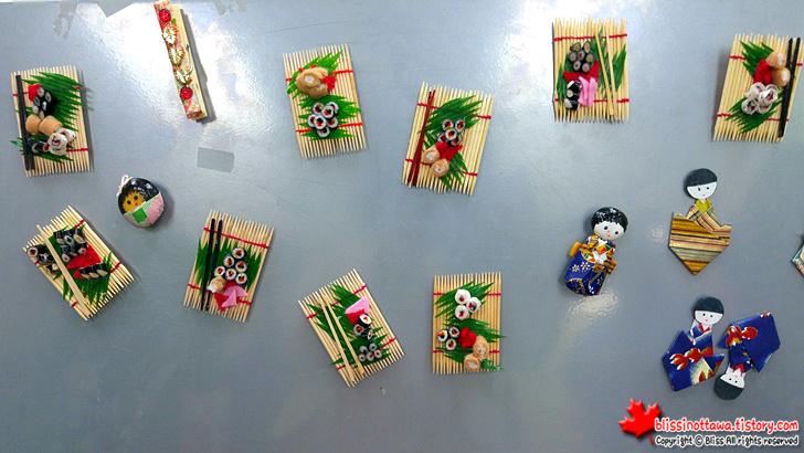 캐나다 일본 벼룩시장 플리마켓 냉장고 자석 초밥 기모노