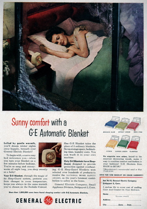 electric blanket by G.E. advertisement