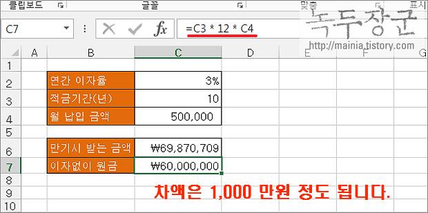 엑셀 Excel 정기 적금 만기에 받을 수 있는 금액을 알아 볼 수 있는 FV 함수 사용법