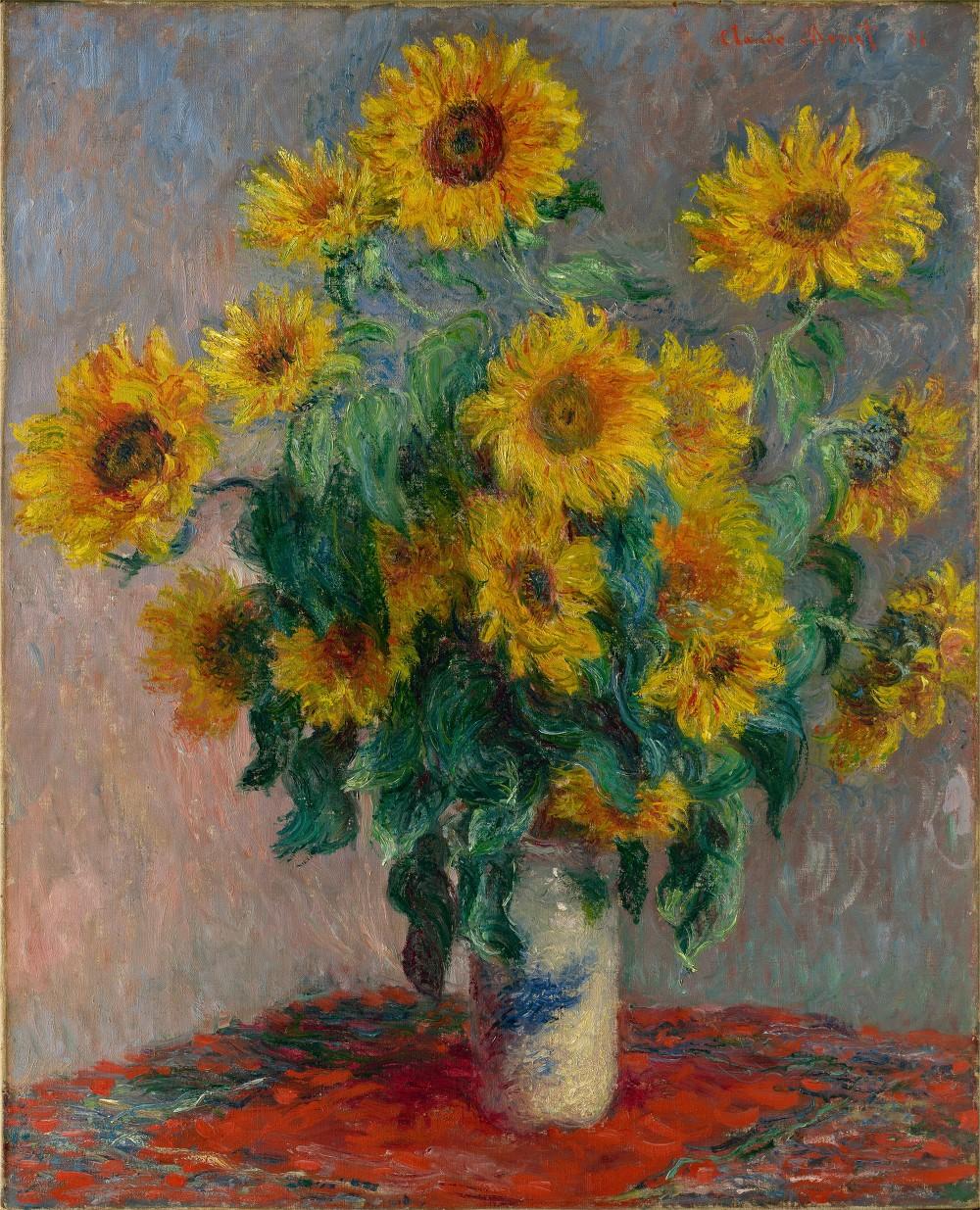 유명 화가들의 예술작품에서 추출하는 어울리는 색조합 사이트 Color Lisa_모네_해바라기가 있는 정물_Claude Monet_Bouquet of Sunflowers