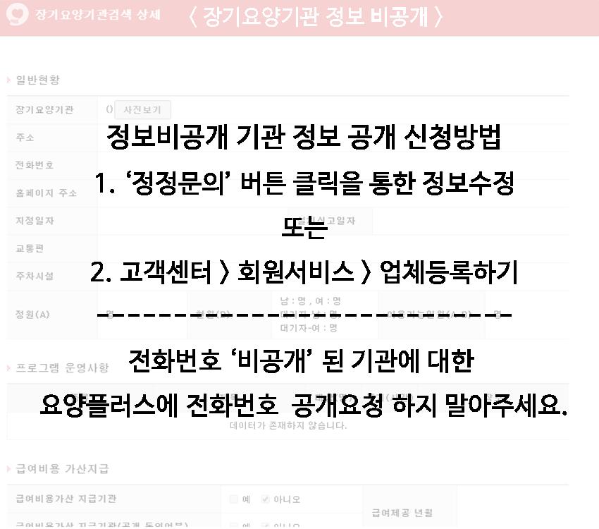 노인장기요양기관 정보 비공개