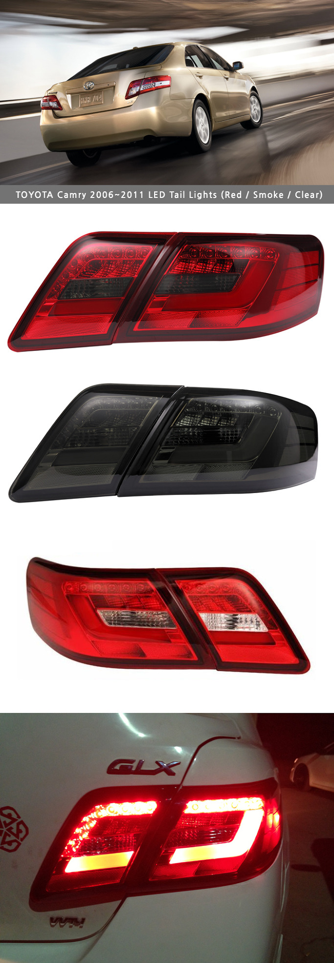 north america version led tail lights rear lamps for toyota camry 2006 2011 ebay. Black Bedroom Furniture Sets. Home Design Ideas