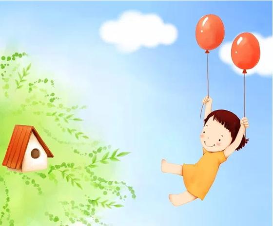 풍선으로 비행하는 소녀 무료 PSD 배경