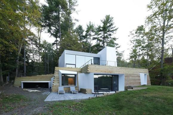 브라운관TV같은 창과 출입구들이 독특한 감흥을 일으키는 레이크 하우스(by Taylor and Miller Architecture)