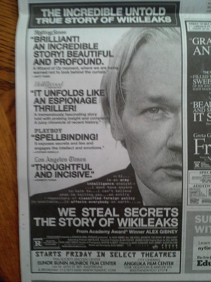 위키리크스 영화광고 - 2013년 5월 18일자 뉴욕타임스 WE STEAL SECRETS - THE STORY OF WIKILEAKS