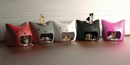 EUNYU Design :: 고양이 모양의 고양이 집 디자인 :: kitty Meow cat bed design
