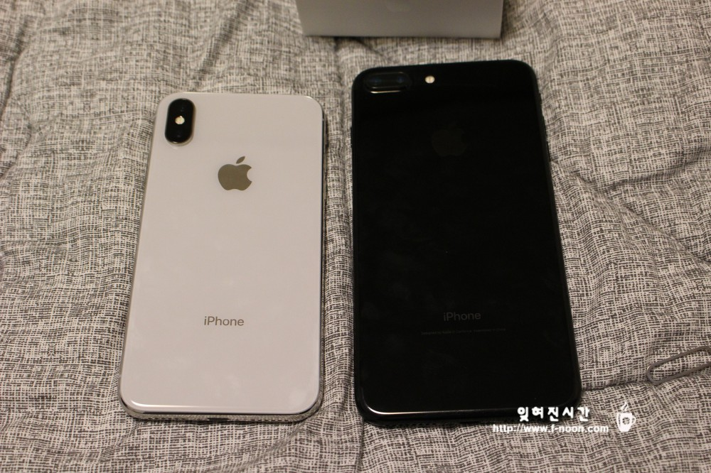 아이폰X 실버 vs 아이폰7+ 제트블랙 후면부 비교