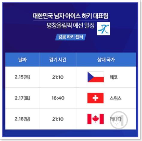 2018평창동계올림픽 대한민국 남자 아이스하키 대표팀 예선일정