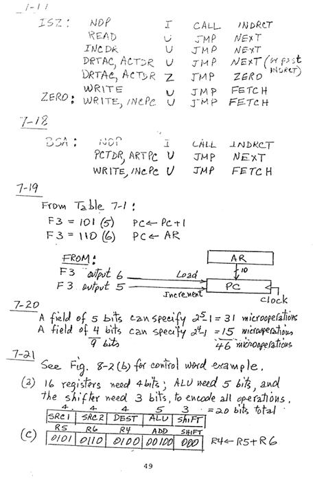 컴퓨터구조 연습문제, 모리스 마노 챕터7 49