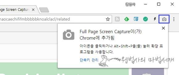 크롬 확장 프로그램 풀 페이지 스크린 캡쳐(Full Page Screen Capture) 아이콘