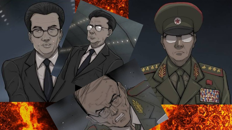 사진: 북한의 온건파 장철우와 강경파 오광렬. 강철비 뜻처럼 서로 간의 파멸을 조장한다.