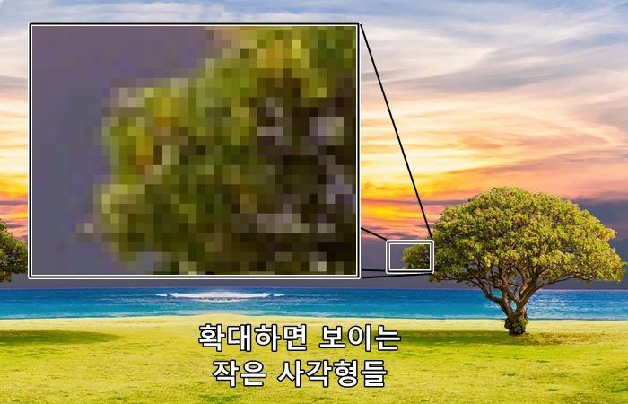 사진: 화소란? 화면을 이루는 아주 작은 점들이다. 픽셀이라고도 하며 이 작은 점들을 떨어져서 보면 그림이 된다. 화면으로 볼 때 색을 표현할 때는 RGB가 필요하다. [화소(픽셀) 개념, RGB의 원리]