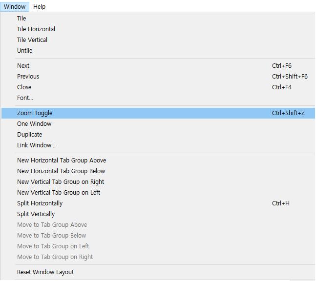 slickedit tab windows menu